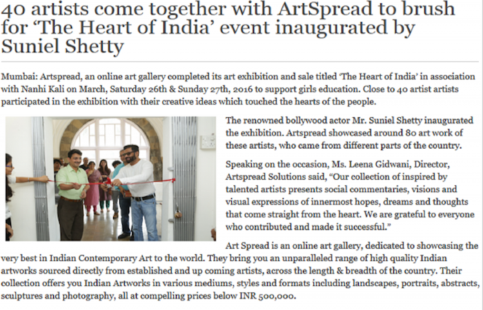 40 artists come together with ArtSpread to brush for 'The Heart of India' event inaugurated by Suniel Shetty